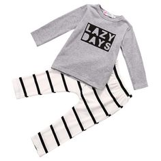 Lazy Days Shirt and Striped Pants For Baby, Toddler, Boy, Girl, Unisex Kids Outfit