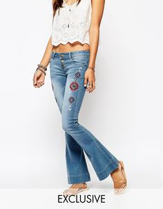 Liquor & Poker Low Rise Skinny Flares With Aztec Festival Side Embroidery