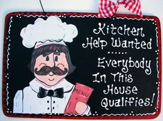 Kitchen Help Wanted Sign Kitchen Plaque Decor Fat Chef