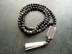 Kette Mala 108 Perlen Onyx Jaspis Lava Schwarz von WaltrautvonRoda