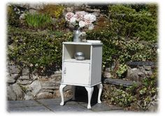 Beautiful Unique Shabby Chic French Louis XVI Style Hand Painted Antique Bedside Pot Cupboard Autentico Bath Stone