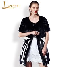 LVCHI Half sleeve Zebra Lines <font><b>Waistcoat</b></font> for women Natural mink fur coats for women Commute style Clothes real value