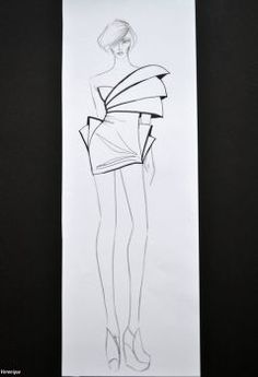 My sketch- Black, White, Form by Verenique on DeviantArt Dress Design Drawing, Dress Design Sketches, Fashion Design Sketchbook, Fashion Design Drawings, Fashion Drawing Tutorial, Fashion Figure Drawing, Fashion Drawing Dresses, Fashion Illustration Poses, Fashion Model Sketch