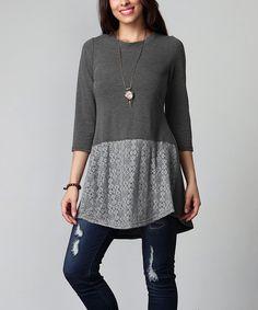 Charcoal Lace-Hem Tunic - Plus