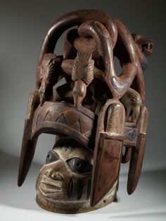 """Africa   """"Gelede"""" mask from the Yoruba people of Nigeria   Wood and pigment"""