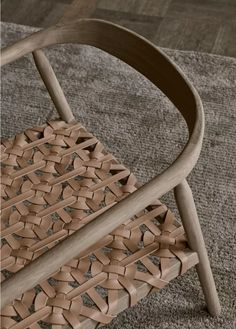 In Love with this Solid Wood with Woven Leather Chair – Fay Armchair and Ottoman Design by Mia Cullin for Adea | Interior 3000
