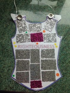 Breastplate of righteousness. I like the one strap attachment. Kids Sunday School Lessons, Sunday School Projects, Sunday School Activities, Church Activities, Bible Activities, School Resources, Bible School Crafts, Bible Crafts, Bible Art