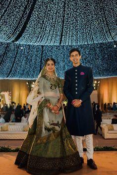 May 2020 - Explore weddingsonlyin's board Unique Bride & Groom Outfit Combination Indian Bridal Fashion, Indian Wedding Outfits, Bridal Outfits, Indian Outfits, Red Lehenga, Bridal Lehenga, Groom Outfit, Groom Dress, Couple Wedding Dress