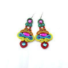 Colorful Soutache Earrings with Beads Soutache Braid Glamour and Shiny Style Gift Toho Handmade Jewelry Colorful