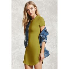 Forever21 Curved Hem T-Shirt Dress ($11) ❤ liked on Polyvore featuring dresses, citron, long-sleeve mini dress, t shirt dress, sleeved dresses, scoop neck dress and short sleeve t shirt dress