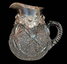 CUT CRYSTAL & STERLING SILVER PITCHER