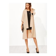 SheIn(sheinside) Open Front Roll Up Sleeve Duster Coat ($22) ❤ liked on Polyvore featuring outerwear, coats, apricot, white duster coat, open front coat, knee length coat, white coat and collarless coats