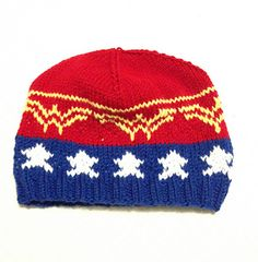 Beanie is knit in the round using a stranded colourwork pattern.