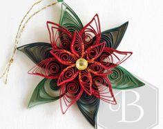 Ornement de vacances poinsettia, quilling Noël, décoration de Noël, décoration de Noël, décoration quilling papier