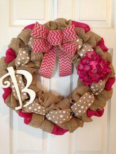 CHEVRON BURLAP WREATH with Initial, Summer Wreath, Spring Wreath, Wedding Gift, Easter Burlap Wreath , Front Door Wreath on Etsy, $65.00
