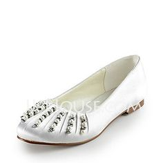 Wedding Shoes - $61.99 - Satin Flat Heel Closed Toe Wedding Shoes With Imitation Pearl (047014155) http://jjshouse.com/Satin-Flat-Heel-Closed-Toe-Wedding-Shoes-With-Imitation-Pearl-047014155-g14155