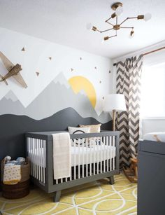 Baby Nursery: Easy and Cozy Baby Room Ideas for Girl and Boys an excellent example of a gender neutral nursery, in grays, yellows and whites. Modern, comfortable and still a very stylish nursery! Baby Boy Rooms, Baby Boy Nurseries, Kids Rooms, Room Baby, Baby Room Grey, Baby Room Ideas For Boys, Girl Room, Baby Boy Bedroom Ideas, Nursery Room Ideas