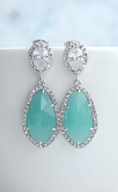 LUX Rhodium Plated Cubic Zirconia Mint Opal Green