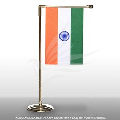 Indian miniature table vertical flag of size x with a gold-plated plastic round base, L-staff and finial top Table Flag, L Shape, Twinkle Twinkle, Flags, Miniatures, Base, Plastic, Indian, Gold