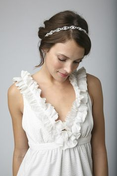 SANDRA  Bridal Crystal Rhinestone Headband or by UntamedPetals