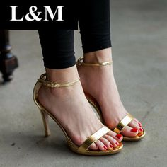 2014 New Metallic Fine with High-heeled Sandals Platform Brand designers Fashion Wedding summer shoes Soft leather gz  $66.35