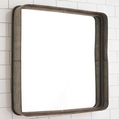 """Metal Galvanized Squared Mirror This simple galvanized metal framed mirror will add a touch of industrial style to a bathroom. Combine with bronze bath lights and Edison bulbs and you have a nice simple understated urban look. (23.5""""Hx23.5""""Wx3.75""""D)"""