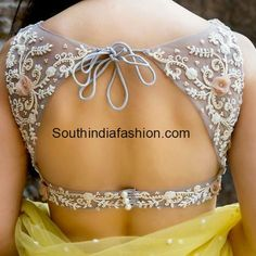Net saree Blouse ~ Fashion Trends ~ - South India Fashion You are in the right place about ikkat blo Netted Blouse Designs, Stylish Blouse Design, Fancy Blouse Designs, Choli Designs, Blouse Neck Designs, Mehndi Designs, Blouse Styles, Blouse Designs Lehenga, Blouse Designs Wedding