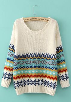 White Geometric Print Long Sleeve Sweater