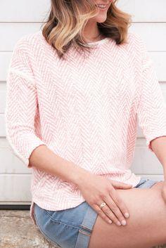 Light Pink Knit Sweater Top