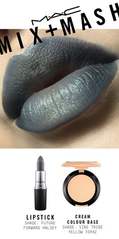 Created using MAC Future Forward Lipstick by Halsey, Eye Kohl in Smolder for the outer corners, Cream Colour Base in Yellow Topaz, and Modern Twist Kajal Liner in Grey Tide