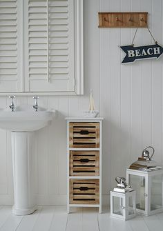 Portside Storage Furniture With 3 Drawers From The White Lighthouse New England Style Bathroom