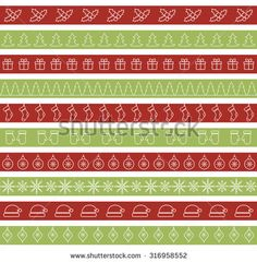 Christmas seamless borders for holiday design. Line christmas trees, snowflakes, mittens, gifts