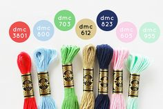 DMC embroidery floss colors to match Dear Stella Seaworthy fabric Cross Stitch Thread, Cross Stitching, Cross Stitch Embroidery, Diy Bracelets Easy, Thread Bracelets, Dmc Embroidery Floss, Ribbon Embroidery, Blue Color Schemes, Color Combos