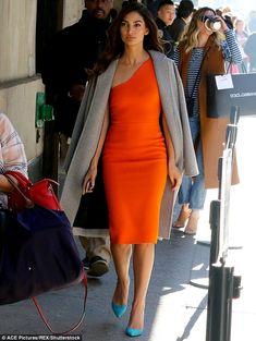 Lily Aldridge swaps skintight leather trousers for slinky orange dress Santa Monica, Lily Aldridge, Fashion Beauty, Womens Fashion, Leather Trousers, Fashion Night, Orange Dress, Classy Outfits, Chic