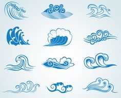 Royalty free clipart illustration of sea waves, on a white background. This royalty-free cartoon styled clip art picture is available as a fine art print and poster. Clipart Sea Waves - Royalty Free Vector Illustration by Vector Tradition SM Waves Symbol, Waves Logo, Alas Tattoo, Ocean Tattoos, Wave Tattoos, Waves Vector, Cool Tats, Sea Waves, Water Waves