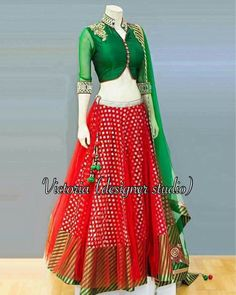 Red lehanga with green blouse