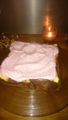 Brownies, cheesecake and raspberry cream.