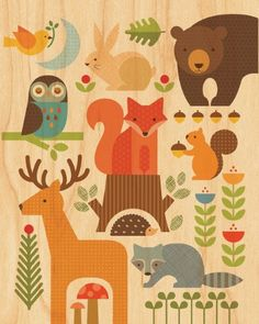 "Forest Parade Print on Wood - 8""x10"" de Petit Collage…"
