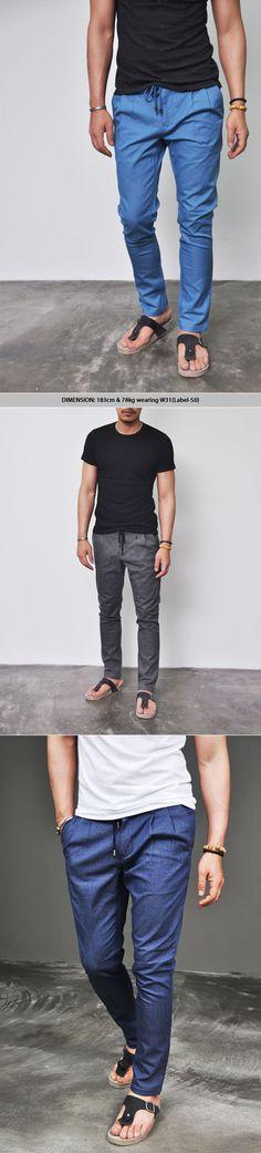 Semi-Baggy Drawcord Denim Slacks - great casual pant for the summer!