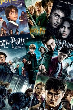 Harry Potter collage from the 1st movie to the last Rowling Harry Potter, Mundo Harry Potter, Harry Potter Wizard, Images Harry Potter, Harry Potter Tumblr, Harry Potter Film, Harry Potter Fandom, Harry Potter World, Harry Potter Hogwarts