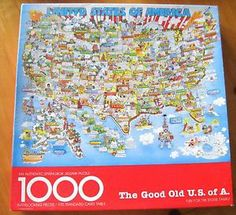 "Original Robert Blair Martin ""The Good Old U.S. of A."" Vintage Springbok Puzzle (PZL5925)  by Hallmark -1000 pieces - Complete.   U.S. Map with bright, clever cartoon drawings of features of each U.S. State. Springbok Puzzle fun but challenging."