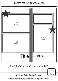 Even More Scrapping!: EMS Sketch Challenge 34 - The Looong Flight Home Scrapbook Patterns, Scrapbook Layout Sketches, Scrapbook Templates, Scrapbook Designs, Card Sketches, Scrapbook Paper Crafts, Scrapbooking Layouts, Wedding Scrapbook, Disney Scrapbook