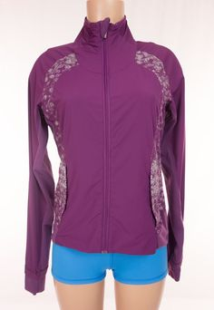 LULULEMON Persist Jacket M Medium Purple Bubble Squiggle Print Yoga Run $158 #Lululemon #CoatsJackets