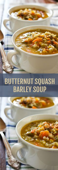 This Hearty Butternut Squash Barley Soup is full of healthy protein, low glycemic grains, and super healthy vegetables. Make it on the weekend and enjoy all week for lunch or dinner. Also good for freezing. Chicken Barley Soup, Mushroom Barley Soup, Vegetable Barley Soup, Barley Rice, Rice Soup, Soups And Stews, Barley Recipes, Soup Recipes, Vegetarian Recipes