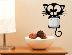 Katzen Lichtschalter und Steckdosen Wandtattoo