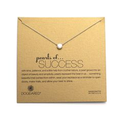 A single 6mm pearl hangs from a gold dipped 16 inch rolo chain on this Dogeared Pearl of Success Gold Dipped Necklace. The Dogeared gold pearl necklace is delivered on a Success card message.