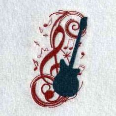 This free embroidery design is a guitar and music notes.