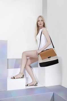 Bolsa maleta tricolor - ref.: 18012 / Rasteira bicolor metalizada - ref.: 18228