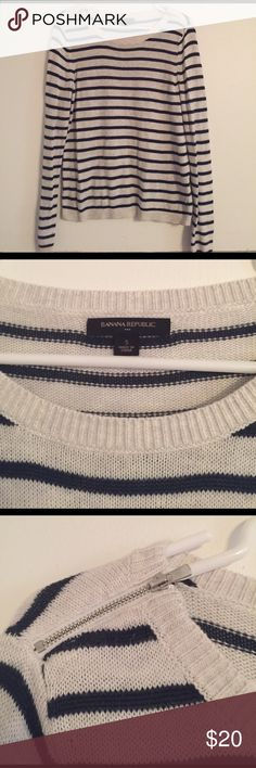 Banana Republic Sweater This sweater has been worn once but looks and feels brand new. It's super comfortable and so cute! It's been in my closet not getting worn, so #poshit it's an off white - ish white and navy blue striped. It has cute zippers by the collar bone on the shoulders Banana Republic Sweaters Crew & Scoop Necks