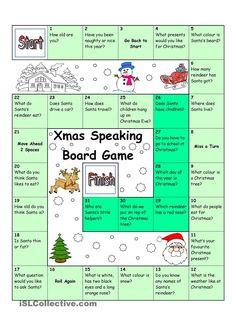 Board Game - Christmas & Santa worksheet - Free ESL printable worksheets made by teachers English Games, English Activities, Christmas Worksheets, Christmas Activities, English Lessons, Learn English, Christmas Board Games, Christmas Trivia, Christmas Traditions
